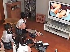 Four Cute Japanese Girls Exploring Their