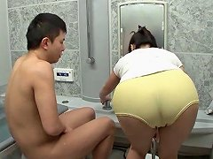 Fine Ass Japanese Milf Blows Him In The Bathroom